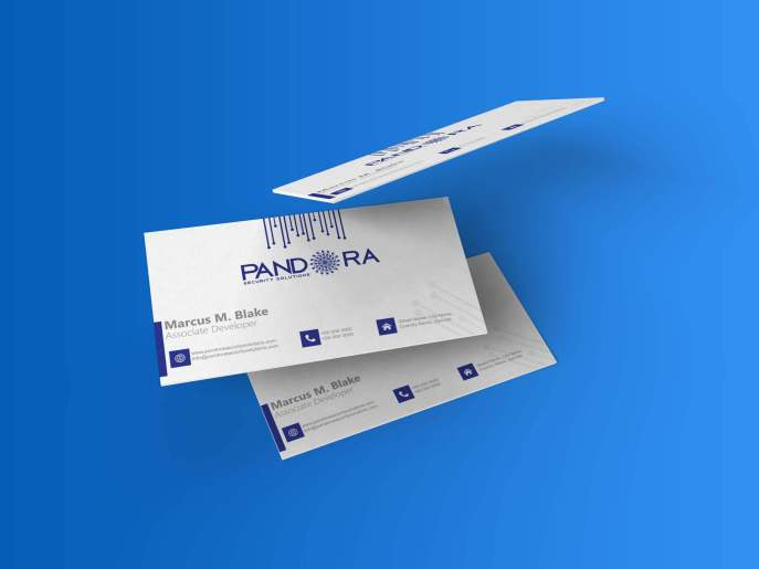 Pandora Security Solutions Business Card Concept, Design and Layout