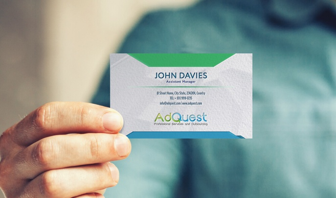 AdQuest - Professional Services and Outsourcing Business Card Concept, Design and Layout